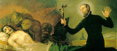 """Saint Francis Borgia performing and Exorcism"" by Goya"